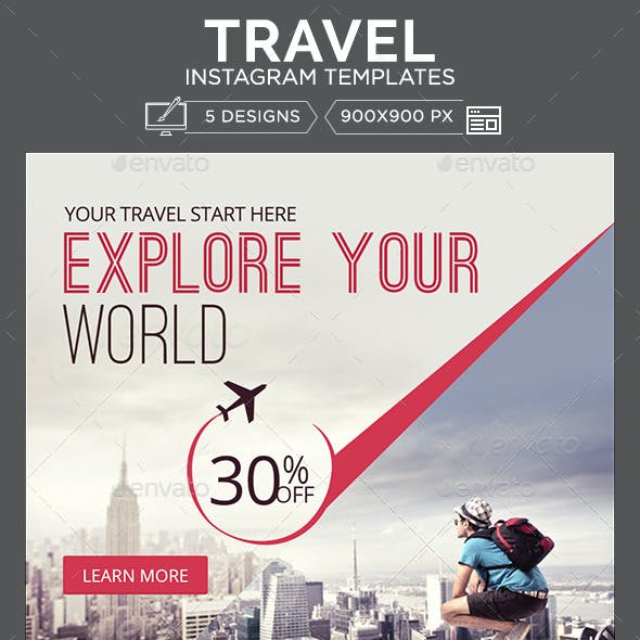 Travel Instagram Templates - 5 Designs