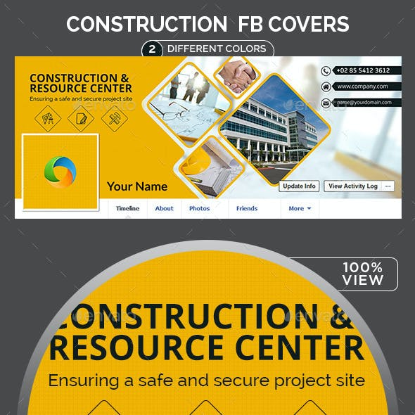 Construction Facebook Covers - 2 Color Variations