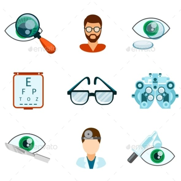 Optometry And Optical Icons Flat Set