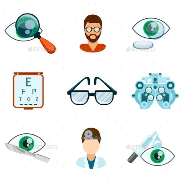 Optometry And Optical Icons Flat Set