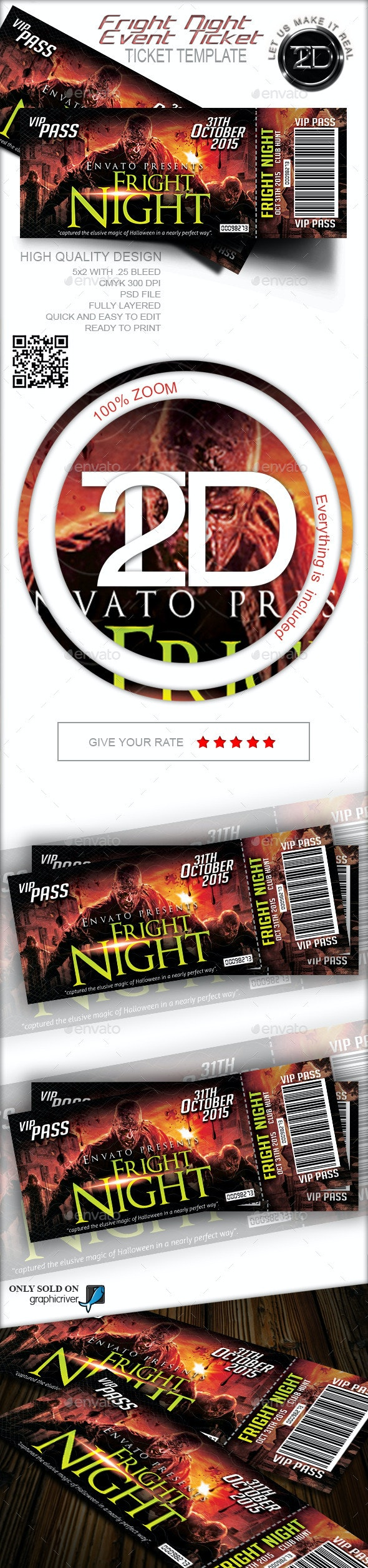 Fright Night Print Ready Event Ticket - Cards & Invites Print Templates