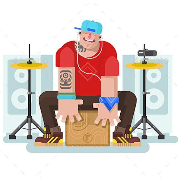 Stylish Drummer Play on Cajon