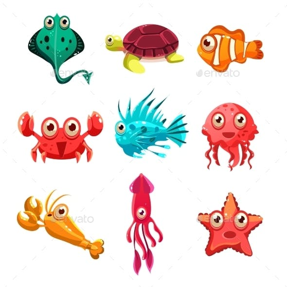 Many Species of Fish and Marine Animal Life