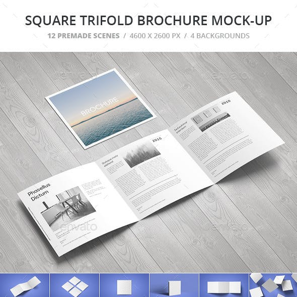 Square Trifold Brochure Mock-up