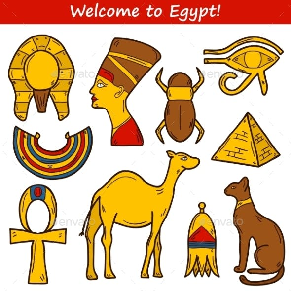 Set of Cartoon Icons for Egypt