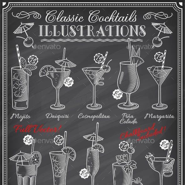 Chalkboard Cocktails Illustrations