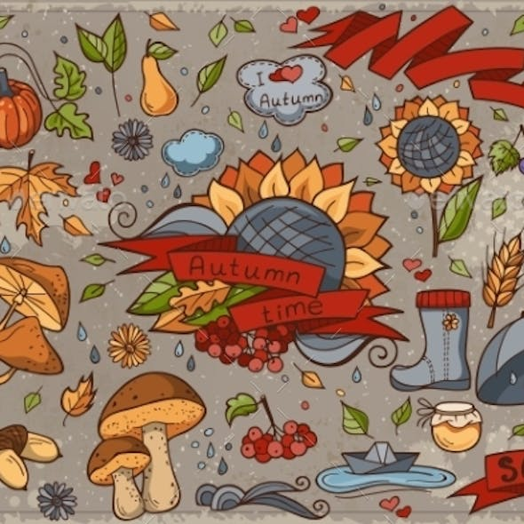 Big Set Of Colored Hand-drawn Doodles On Autumn