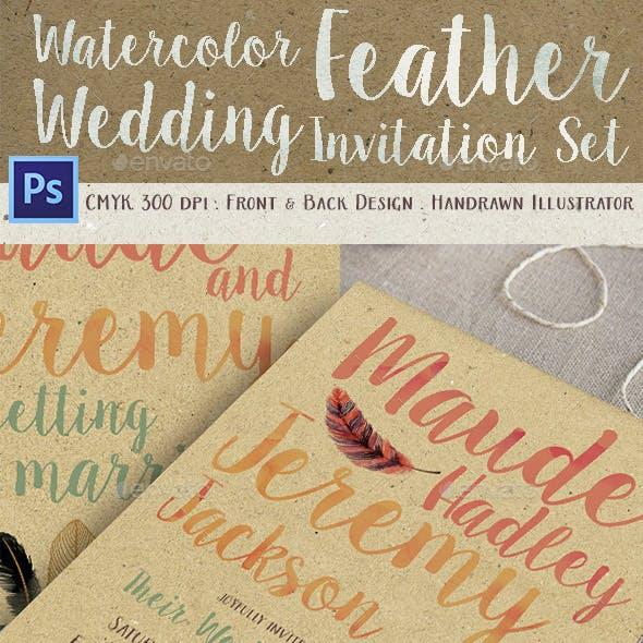 Watercolor Feather Wedding Invitation Set