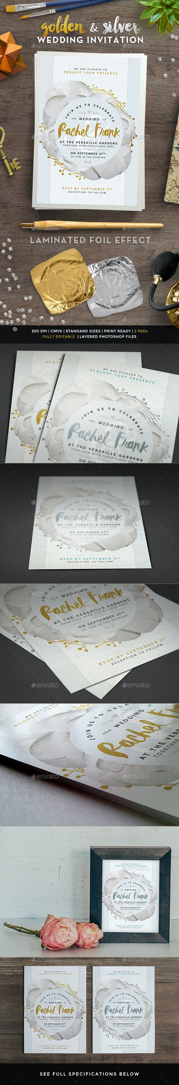 Golden and Silver Wedding Invitations - Weddings Cards & Invites