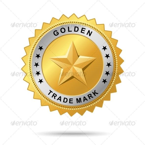 Golden trade mark label - Decorative Symbols Decorative