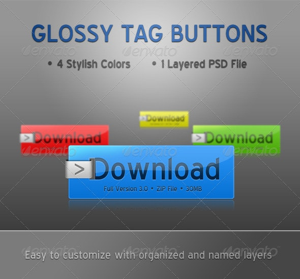 Glossy Tag Download Buttons - Buttons Web Elements