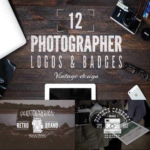 Retro Photography Badges Set