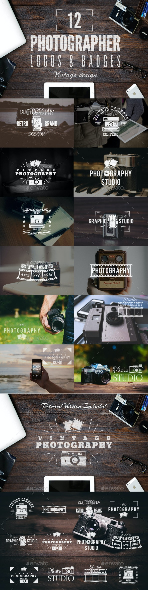 Retro Photography Badges Set - Badges & Stickers Web Elements