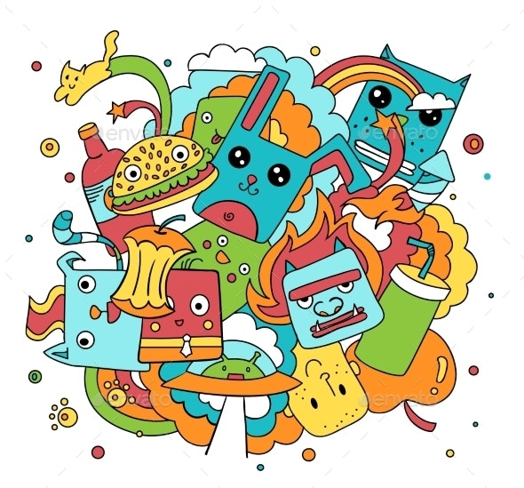 Funny Doodle Vector Illustration - Monsters Characters