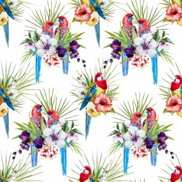 Watercolor Vector Rosella Bird Pattern