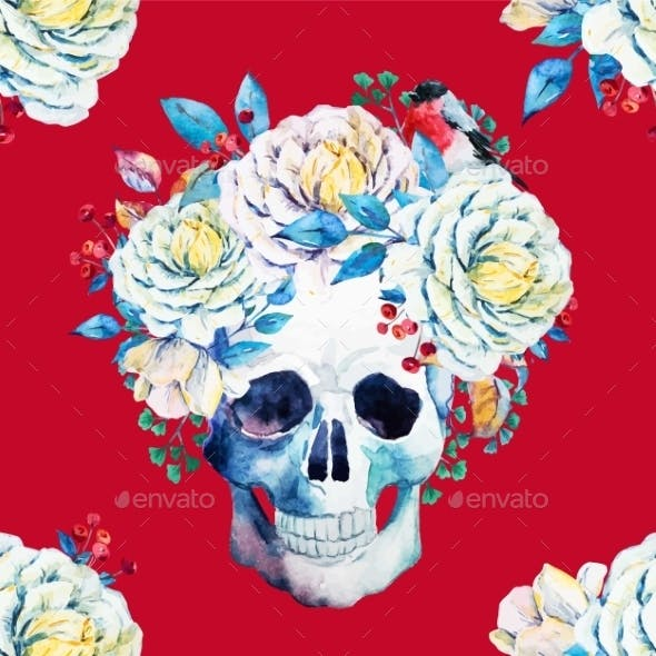 Watercolor Vector Skull Pattern