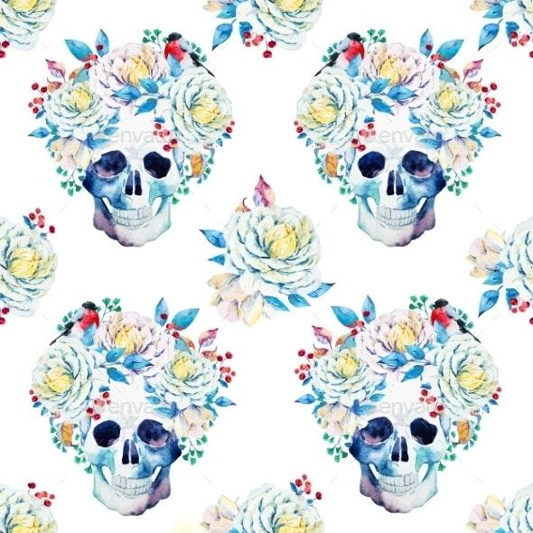Watercolor Vector Skull Pattern - Decorative Symbols Decorative