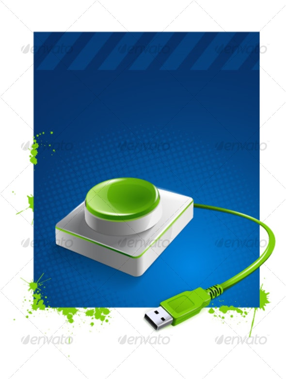 USB Button - Objects Vectors