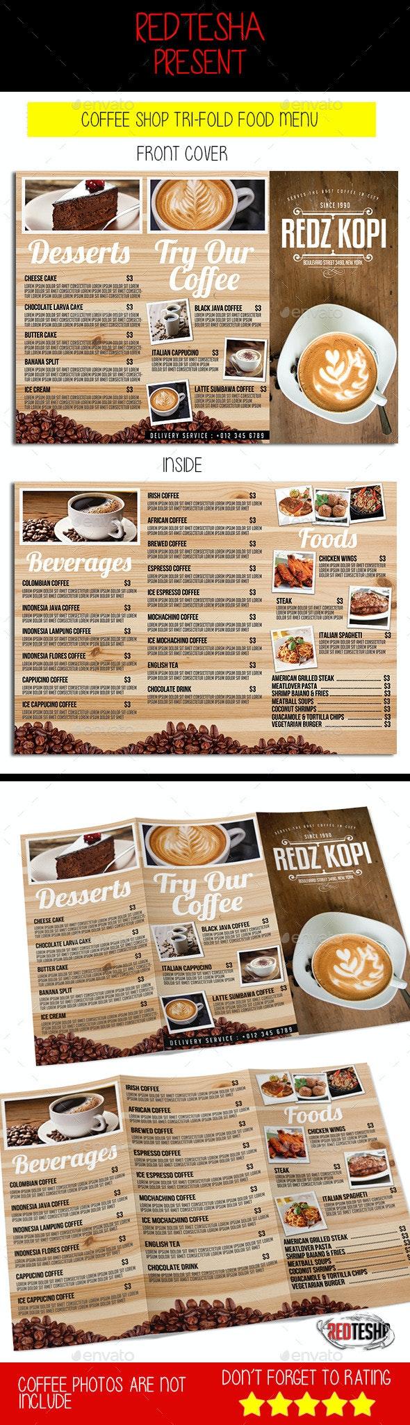 Coffee Shop Tri-fold Menu - Food Menus Print Templates