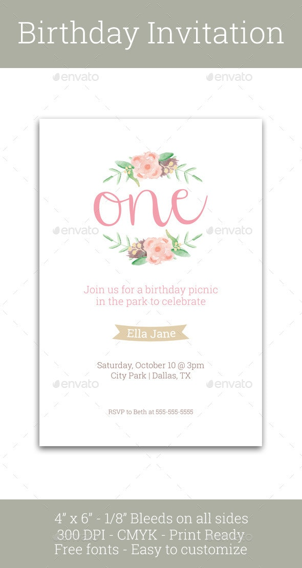 First Birthday Invitation - Invitations Cards & Invites