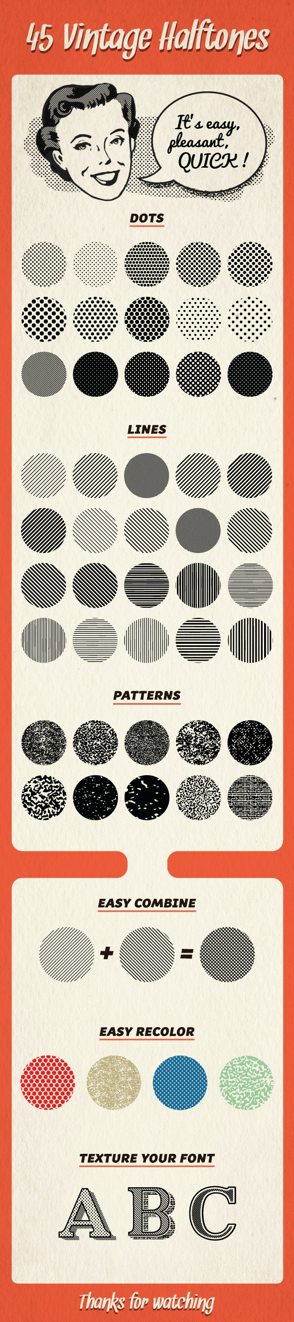 45 Halftones Pattern - Textures / Fills / Patterns Illustrator