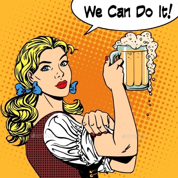 Girl Waitress With Beer Says We Can Do It