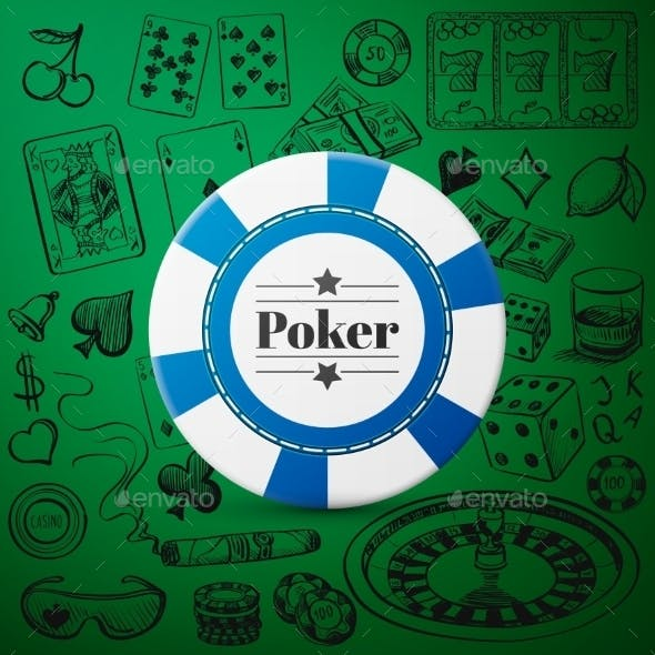 Hand Drawn Casino Collection With Single Blue