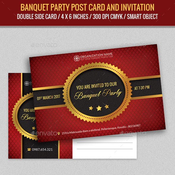 Banquet Party Post Card Template