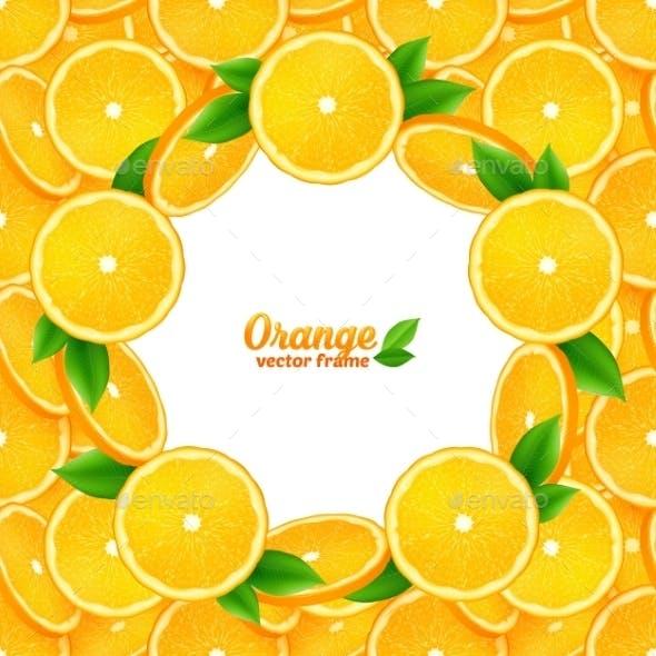 Orange Slices Vector Round Frame On Seamless