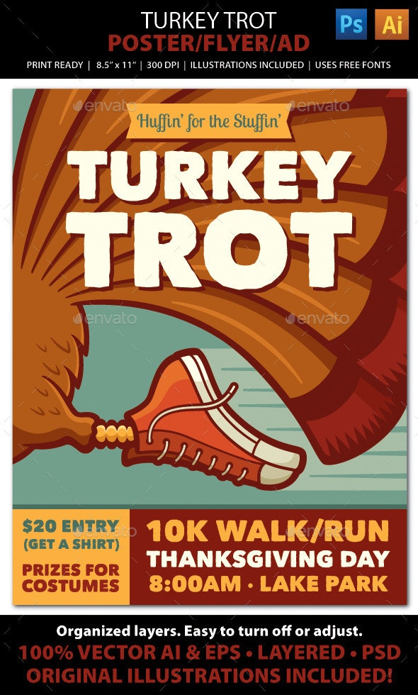 TURKEY TROT Walk / Run Event Poster, Flyer or Ad - Sports Events