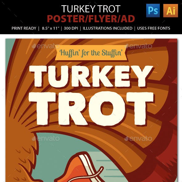 TURKEY TROT Walk / Run Event Poster, Flyer or Ad