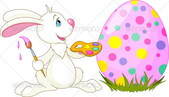 Cute Bunny and Easter Egg - Religion Conceptual