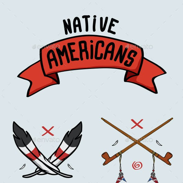 Set of Illustrations the Native Americans