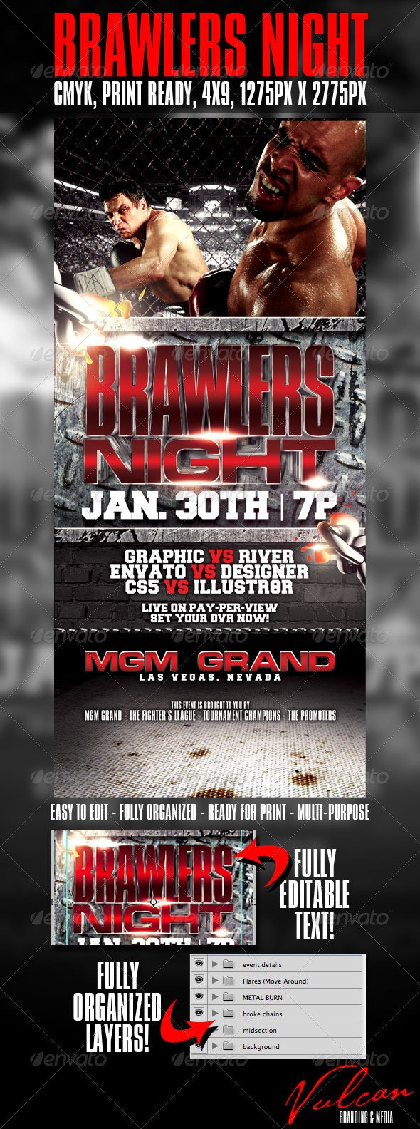 Brawlers Night flyer template - Sports Events