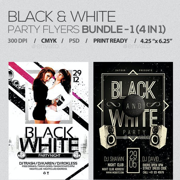 Black and White Party Flyers Bundle