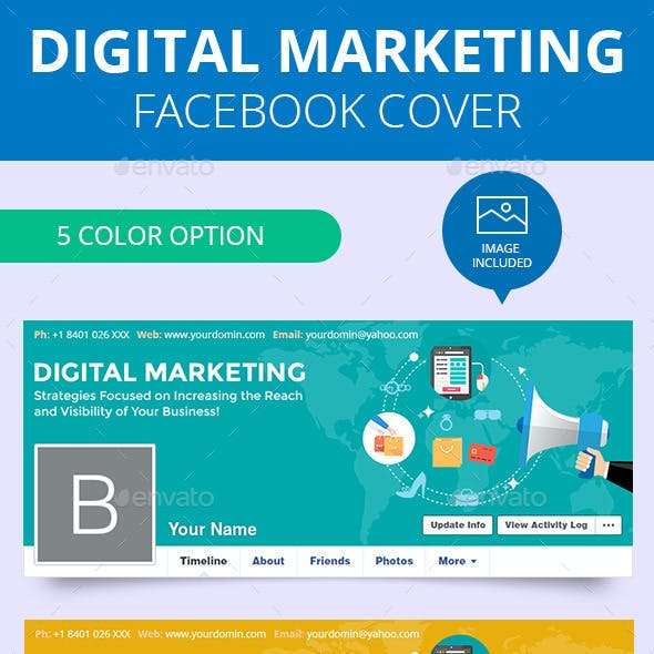 Flat Digital Marketing Facebook Timeline Covers