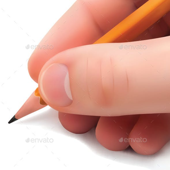 Hand with Pencil Writing on Paper