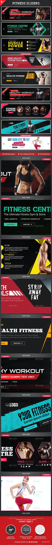 Fitness Sliders Bundle - 9 Designs - Sliders & Features Web Elements