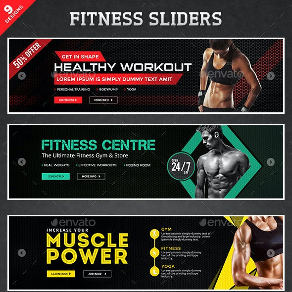 Fitness Sliders Bundle - 9 Designs
