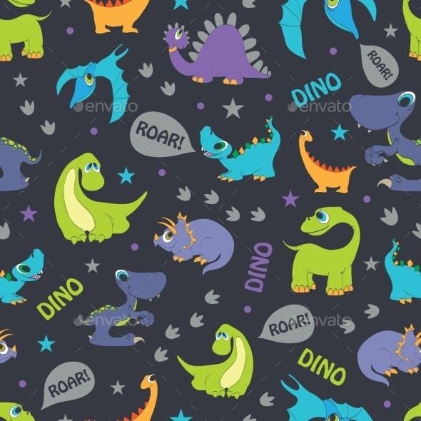 Vector Dinosaurs Roaring Seamless Pattern. Cutest