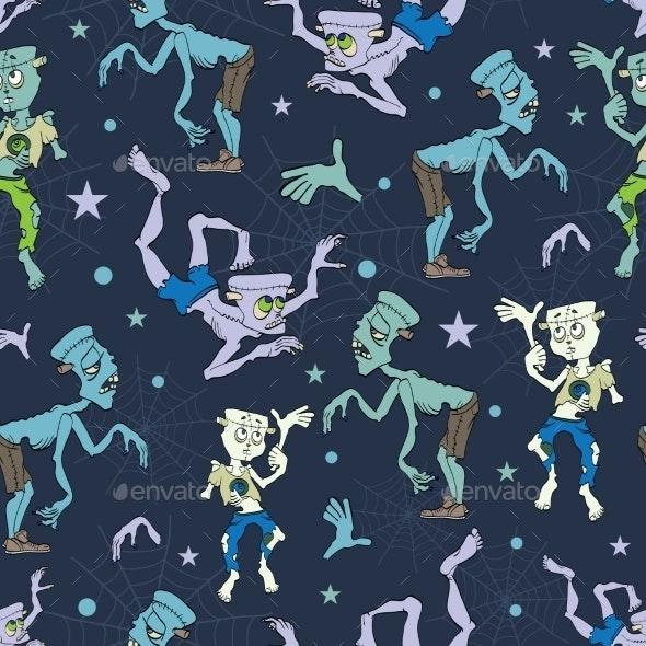 Vector Spooky Zombies Halloween Seamless Pattern - Halloween Seasons/Holidays