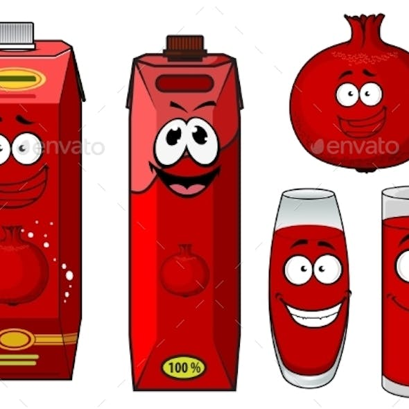 Cartoon Pomegranate Juice Containers And Fruit