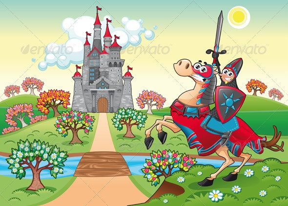 Panorama with medieval castle and knight. - Characters Vectors