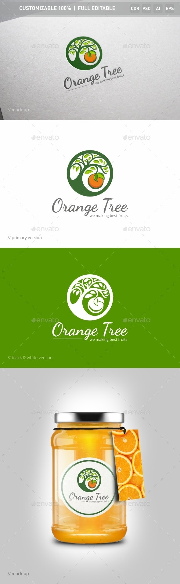Orange Tree Logo Template - Food Logo Templates