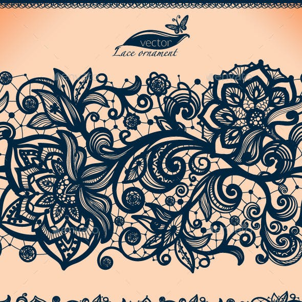Seamless Lace Pattern with Decorative Flowers.