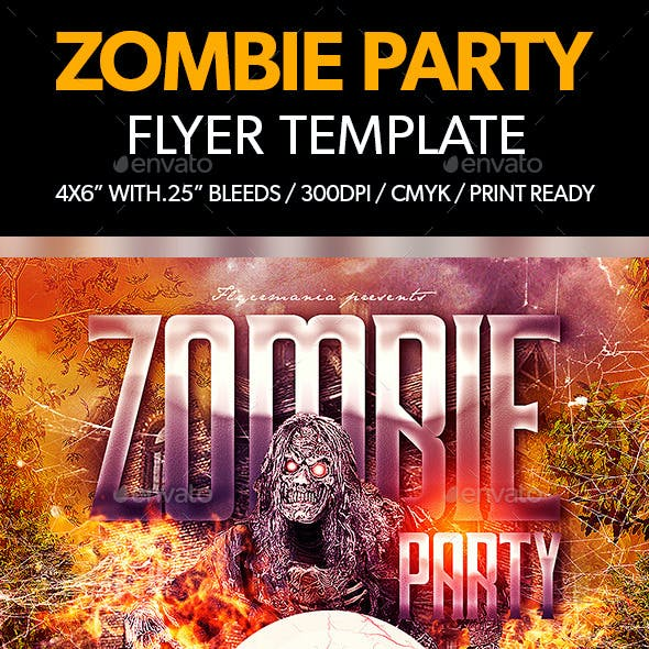 Zombie Party Flyer Template