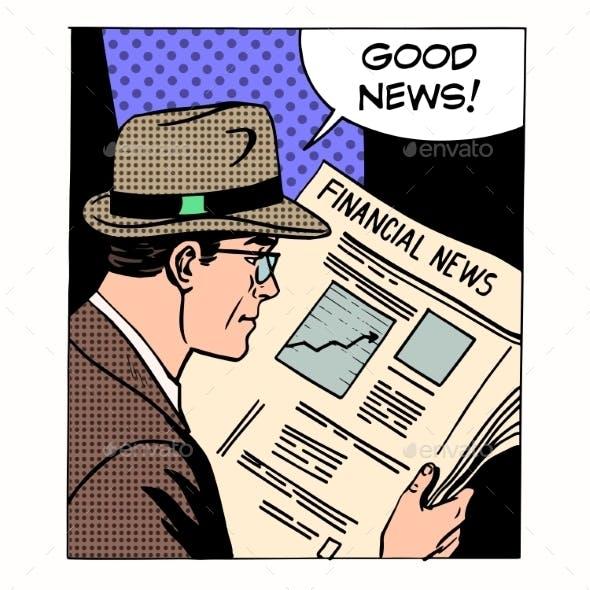 Good Financial News Businessman Reading