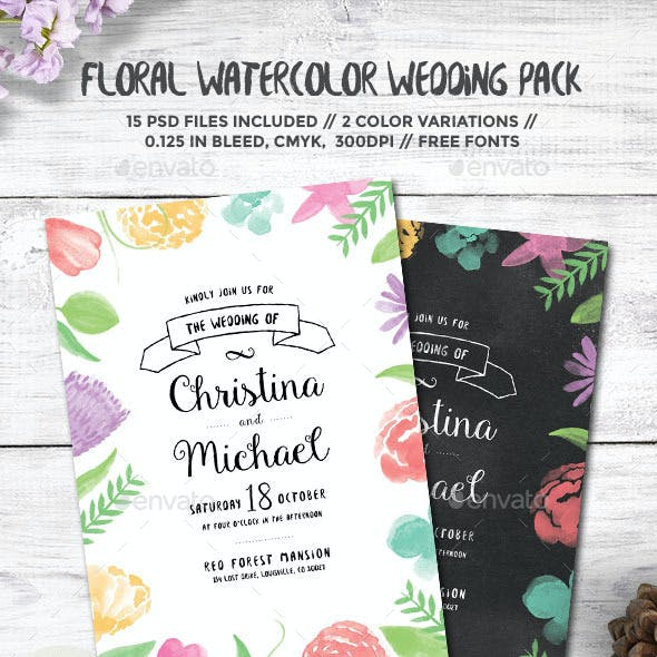 Floral Watercolor Wedding Pack