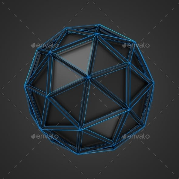Low Poly Black Sphere With Wireframe