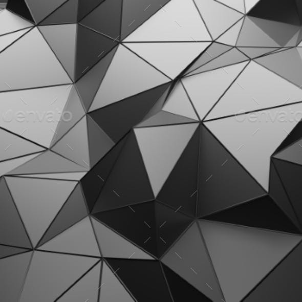 Abstract 3D Rendering Of Low Poly Dark Surface